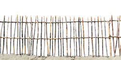fence of twigs isolated on white background