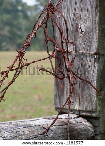Fence Post with Barbed Wire Keywords: barb, bared, wire, fence, post, farm, ranch, rural, country
