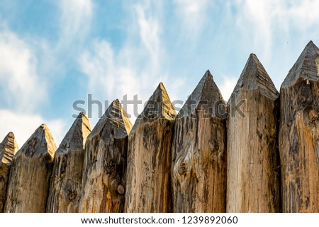 fence traditional pointed logs parallel protection of the fort europe outdoor