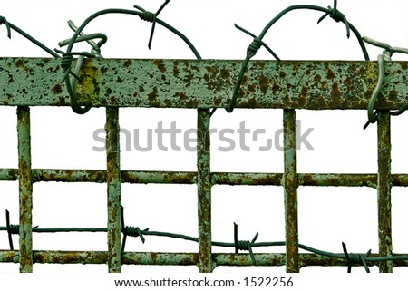 Fence with a sharp barbed  wire