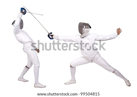 Fencing athletes isolated in white