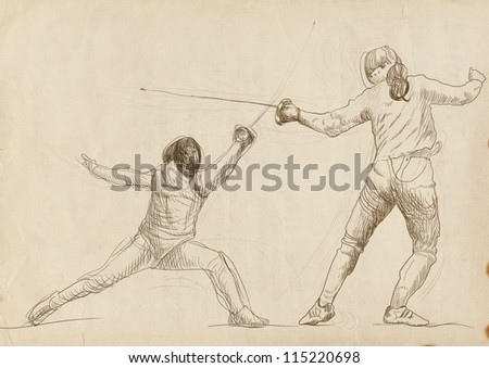 "Fencing. Full-sized (original) hand drawing (useful for converting ""live trace"" for the vector image - and others). Technique: digital tablet. Number of colors: hundreds"