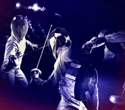 Fencing sport for women fencer. Fia female athlete in fight epee competition. Large group fans on tribunes with lens flare ultraviolet illumination as poster background.