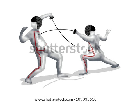 Fencing : Two Professional Fencer Fight at A Fencing Competition, On Isolated White Background