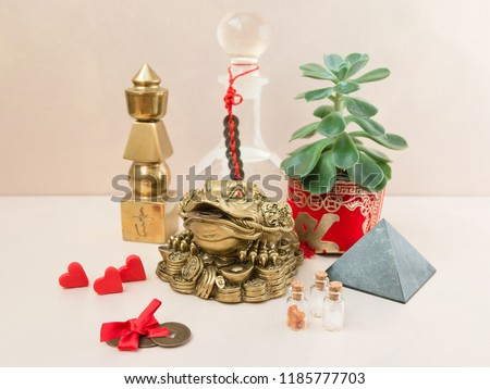 Feng Shui art of harmony of space. Various baubles symbolizing feng shui: Wind music, Chinese coins, pyramid, pagoda, frog, lilac napkin, aroma, salty water. Cozy house. Succulent. #1185777703