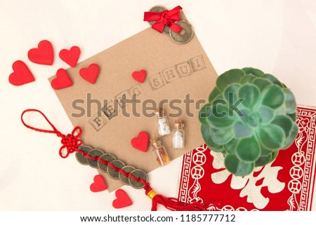 Feng Shui art of harmony of space. Various baubles symbolizing feng shui: Wind music, Chinese coins, pyramid, pagoda, frog, lilac napkin, aroma, salty water. Cozy house. Succulent. #1185777712