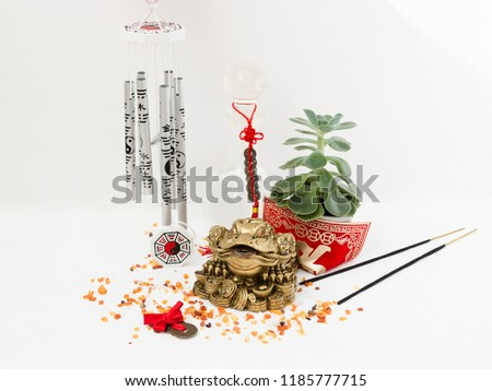 Feng Shui art of harmony of space. Various baubles symbolizing feng shui: Wind music, Chinese coins, pyramid, pagoda, frog, lilac napkin, aroma, salty water. Cozy house. Succulent. #1185777715