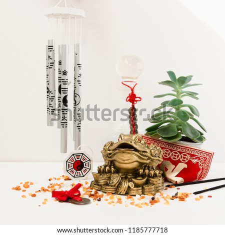 Feng Shui art of harmony of space. Various baubles symbolizing feng shui: Wind music, Chinese coins, pyramid, pagoda, frog, lilac napkin, aroma, salty water. Cozy house. Succulent. #1185777718