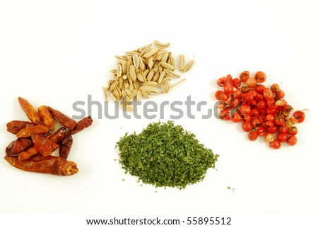 Fennel, red pepper, pink pepper, parsley #55895512