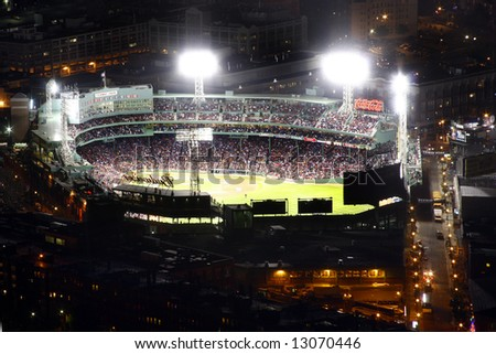 Fenway baseball park at night