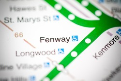 Fenway Station. Boston Metro map.
