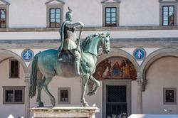 Ferdinando De' Medici equestrian statue (by Giambologna and Pietro Tacca, 1608) in Santissima Annunziata Square, Florence.
