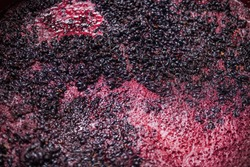 Fermentation of grape must, winemaking concept. Top view.