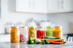 Fermented Vegetables on Kitchen Counter