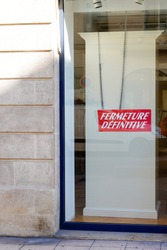 fermeture definitive french text means final closure store in france