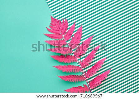 Fern Fashion. Tropical Leaf. Floral Concept. Vivid Design. Art Gallery. Creative Bright Trendy Color. Minimal Style. Summer Green Pink Mood