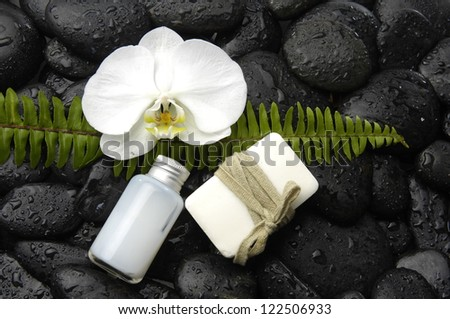 fern leaf with white orchid ,soap on black pebble