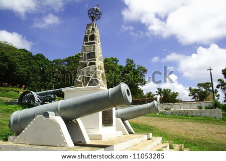 Fernando de Noronha's city hall cannons.