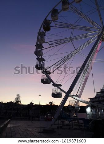 Ferris wheel and twilight sky
