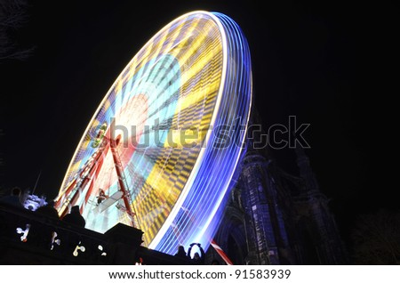 Ferris Wheel at night in Princes Street Gardens, Edinburgh, Scotland