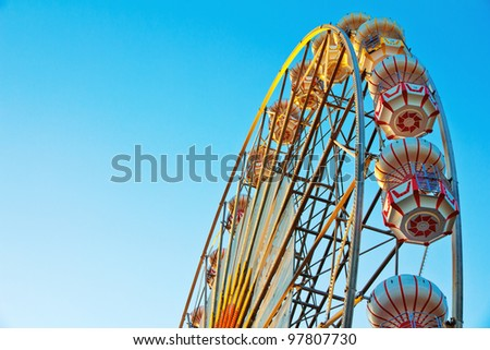 ferris wheel at  sunrise