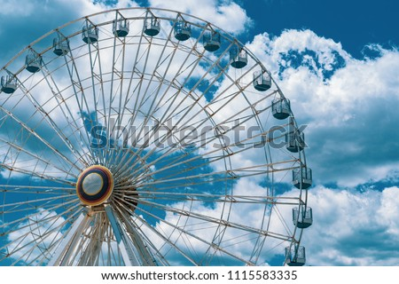 Ferris Wheel Daytime on Ocean City New Jersey Boardwalk Pier Beautiful Blue Sky with Clouds
