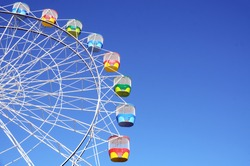 Ferris Wheel in blue sky at Luna park, Sydney