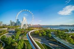 Ferris wheel in downtown of shenzhen china city