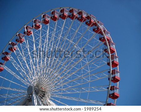Ferris wheel isolating spokes & baskets against clear blue sky.
