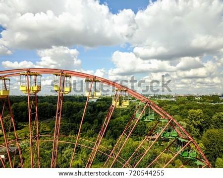 ferris wheel overlooking berlin ...