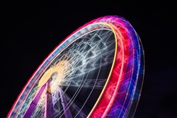 Ferris Wheel Spinning Long Exposure Neons Structure Black Night Rollercoaster