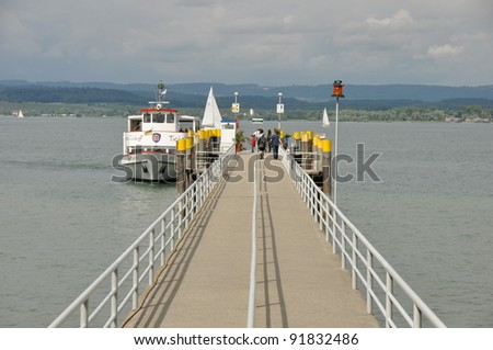 Ferry at Lake Constance waiting for passengers
