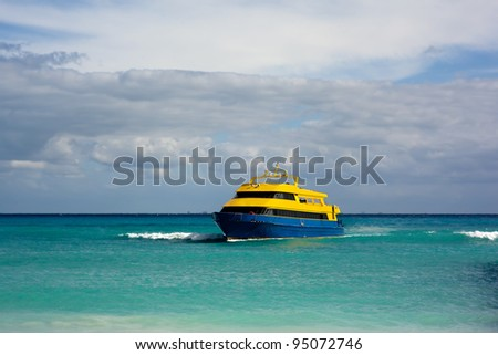 Ferry boat arriving at Playa del Carmen, Mexico.