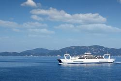 ferry boat sailing near Corfu island Greece