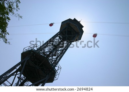 Ferry cable car tower, Barcelona harbor - stock photo