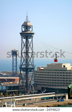 Ferry cable tower, Barcelona harbor