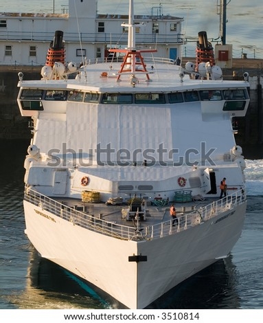 Ferry docking at Douglas in the Isle of Man - stock photo
