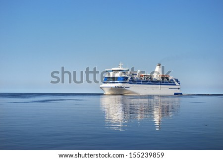 Ferry entering port of Riga