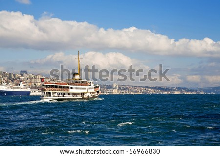 Ferryboat in Istanbul Turkey transporting people from europe to the Asia
