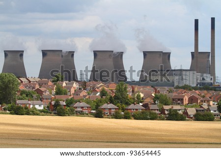 ferrybridge coal fired power station - stock photo
