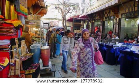 FES - JAN 30: Unidentified people shopping market in medina on January 30, 2012 in Fes, Morocco. This medina has more of seven thousands streets. #177978932