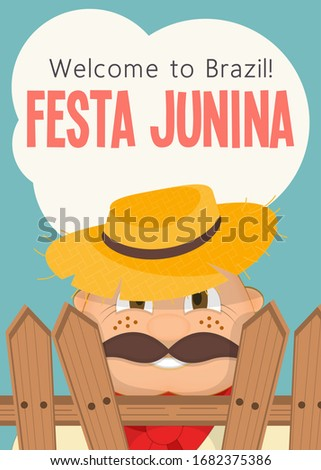 Festa Junina - Brazil June Festival. Poster for Folklore Holiday. Funny  Hick in Straw Hat.  Illustration.