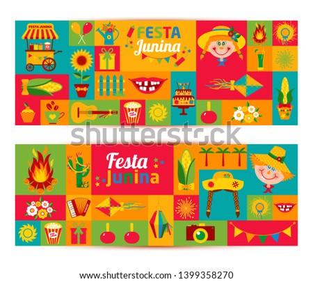 Festa Junina village festival in Latin America. Icons set in bri