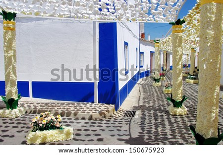 Festival flowers in streets, Alentejo, Portugal - stock photo