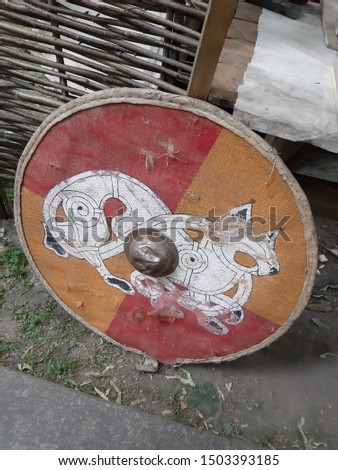 Festival Times and Epochs. Historical reconstruction. Medieval shield.