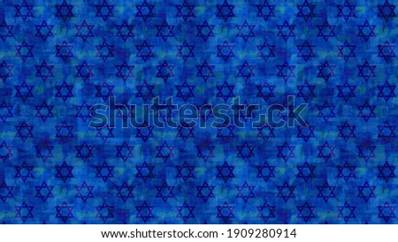 Festive and magical religious illustration with a dark blue background and a print of Magen David - the symbol of Judaism, in honor of the 13th birthday ceremony of a Jewish son  Photo stock ©