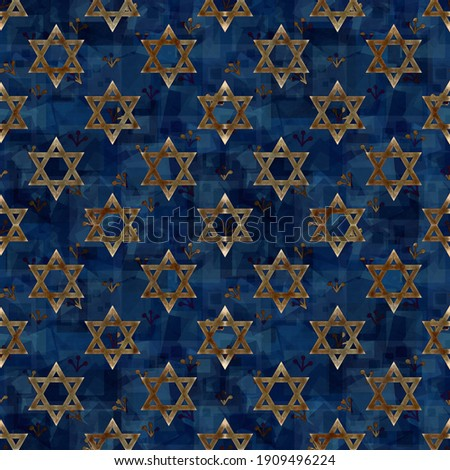 Festive and magical religious illustration with a dark blue background and a print of Magen David - the symbol of Judaism, in honor of the 13th birthday ceremony of a Jewish son (Bar Mitzvah) Foto stock ©