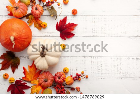 Festive autumn decor from pumpkins, berries and leaves on a white  wooden background. Concept of Thanksgiving day or Halloween. Flat lay autumn composition with copy space. Photo stock ©