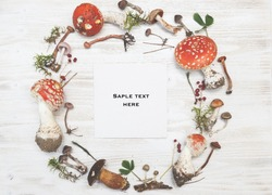 Festive autumn Thanksgiving wreath with mushrooms, fly agaric, moss, red berries, on rustic background. Autumn holiday, fall, Thanksgiving, Halloween concept. Flat lay, top view, copy space