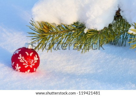 Festive background. Snow-covered branch with a Christmas toy.
